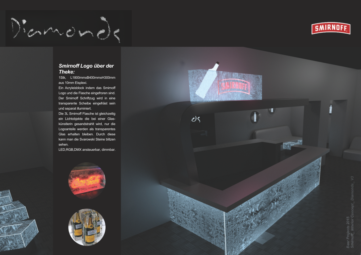 sminoff, diamonds, 3d rendering,köln, gestaltung, planung, konzeption, acryleis, plexieis, eis-look, vodka, lounge