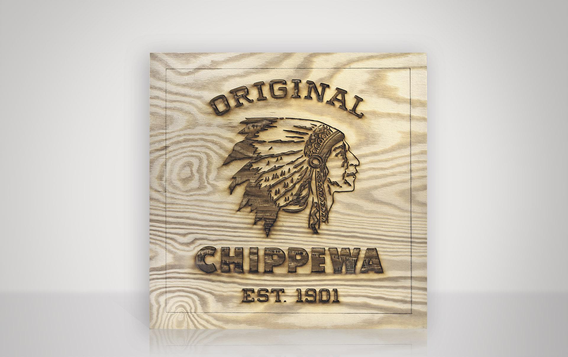 Chippewa Logo Holz Lasergravur,Lasergravur in Holz, Schuhhersteller, Holzbearbeitung, Innenausbau, Möbel, interior, Design, gestaltung, grafik, indianer, native american, first nation american