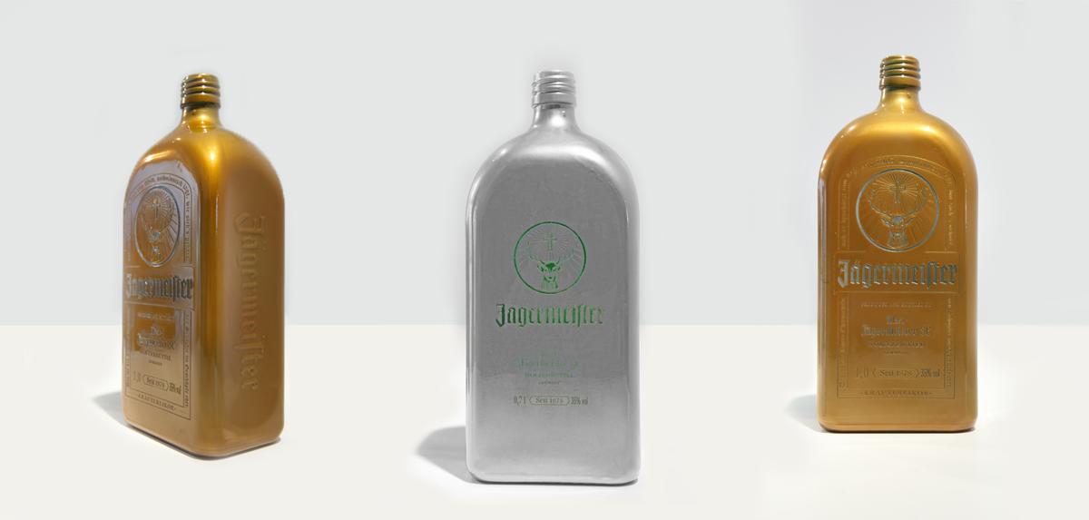 jägermeister, flaschen, pulverbeschichtung, glas pulverbeschichtung, produktfotografie waldbrand media, project a, bochum, essen, glasflaschen