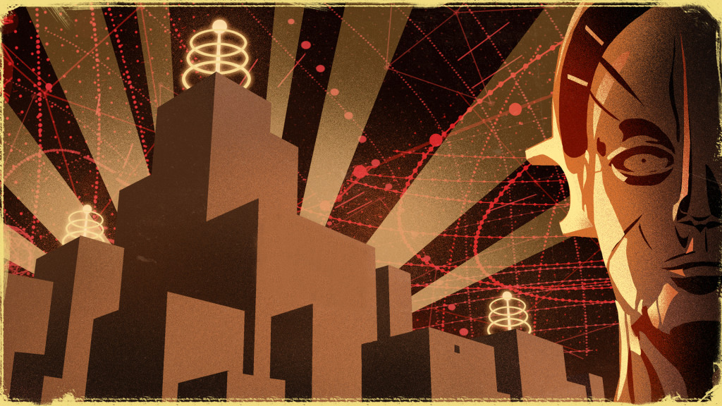 metropolis, omclub, maria, city, metro, illustration, grafik, zeichnung,braun, ocker
