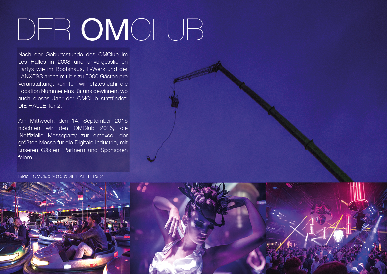OMClub 2016, die halle tor 2, christopher baer, kreativbüro, gestaltung, design, idee, konzept, veranstaltung, omclub, halle tor 2,sponsoren