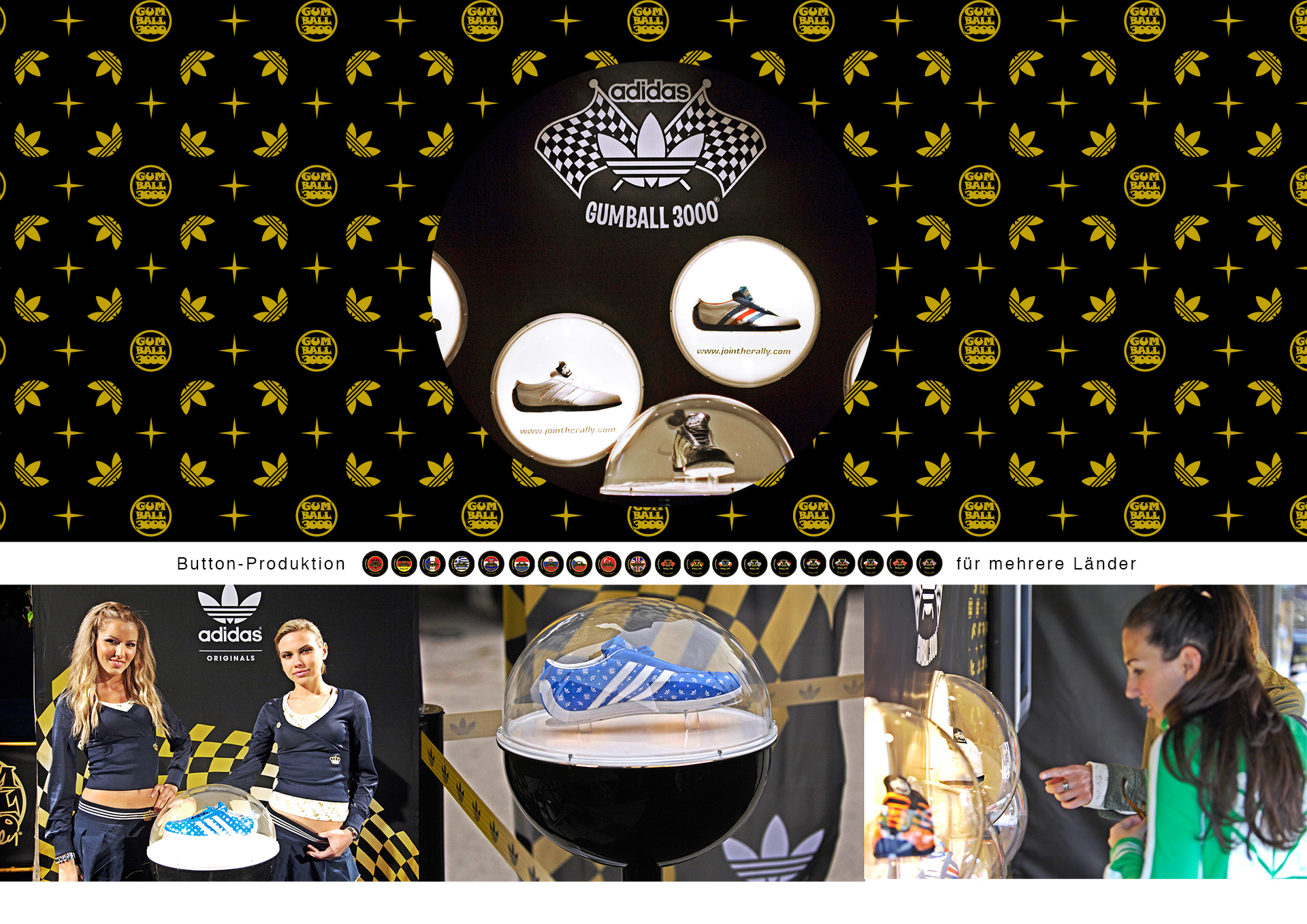 adidas gumball 3000,adidas schuhe, shoes, präsentation, 2007,schuhdisplay, halbkugel, hostessen, adidas promotion, werbung, stand, europatour, ci, agentur, bochum