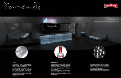 smifnoff lounge Diamonds Club Köln 2015, club ausbau, smirnoff flaschen, theke, tresen, swarovski, kristalle, ice plexigals, eis optik, led ansteuerung, led lichtdesign