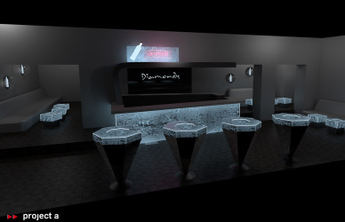 3D Rendering,Rendering,grafik,simulation,visualisation,visualisierung,messebau,gestaltung,konzept,design,interior,acryleis,plexiglas,led-technik,dmx controlled,ansteuerbare led,wlan led,club,party,smirnoff,lounge,diamonds,swarovski®,kristalle,lichttechnik