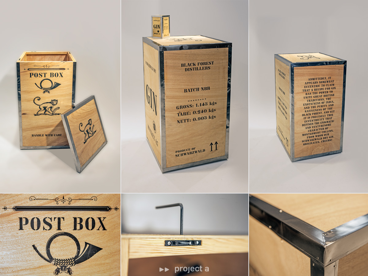 briefkasten, monkey 47, schwarzwald dry gin, post box, mail box, holz, aufsteller, dummy, distillers cut, gin, gin tonic, messebau, design, kreativbüro, agentur, project a, christopher baer