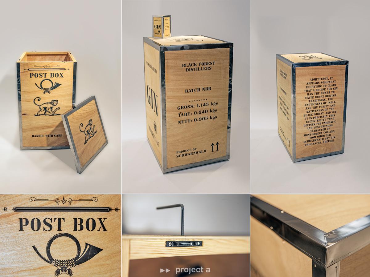 briefkasten, monkey 47, schwarzwald dry gin, post box, mail box, holz, aufsteller, dummy, distillers cut, gin, gin tonic, messebau, design, kreativbüro, agentur, project a, christopher baer