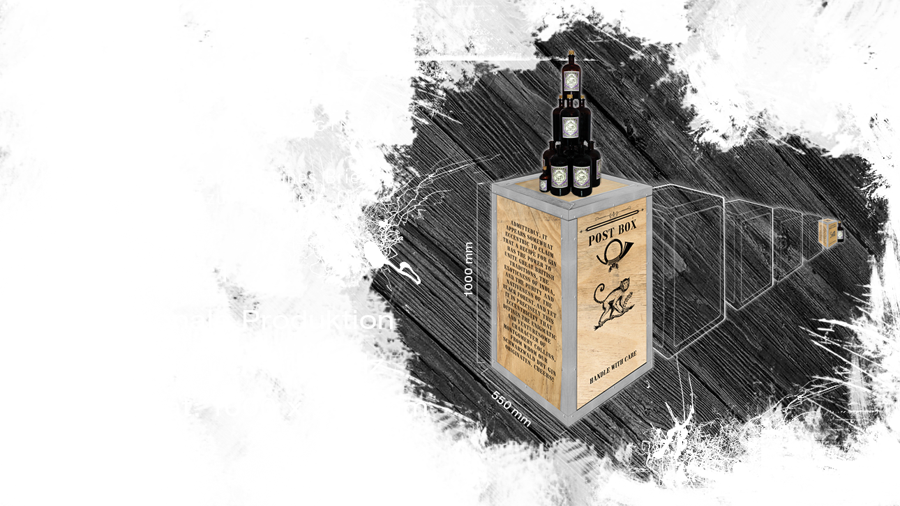 monkey47, gin,mail box, project a, briefkasten, design, frachtbox, interior design, möbel design, interieur, bochum, schwarzwald dry gin, black forest distillers