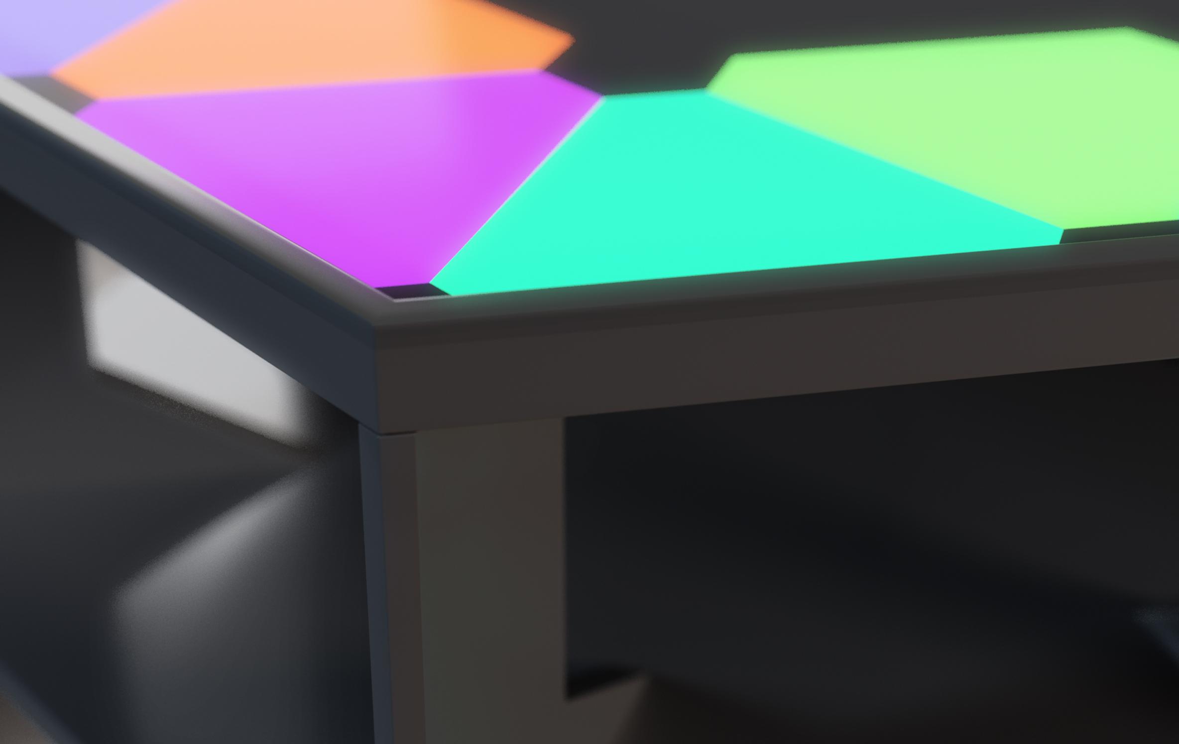 Hexagon LED Stehtisch, Stehtische, messe, event, gastro, project a, bochum, aurora nanoleaf, nanoleaf, aurora led, nanoleaf led, lichtsystem, leutenter stehtisch, beleuchtetr stehtisch, promotion tische, mobil ansteuerbar, app, apple home, light, lichttisch, leuchttisch